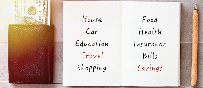 budget for house, travel, savings, car, health; save money monthly